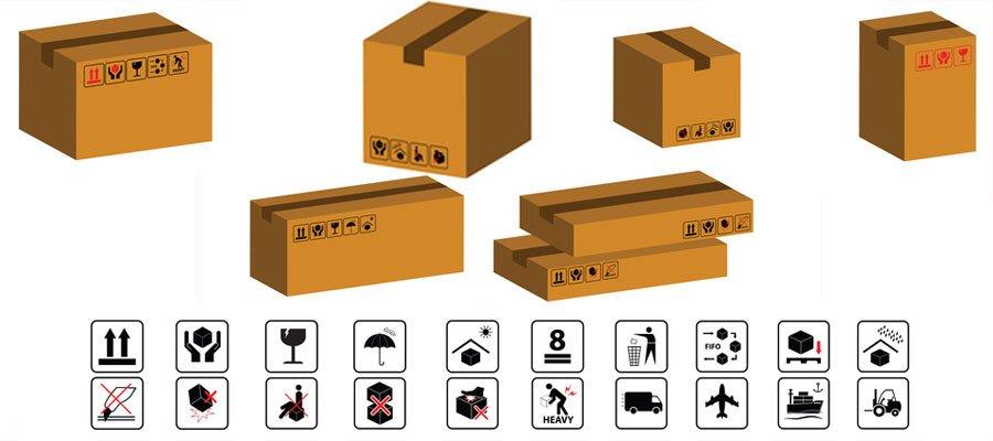 بسته بندی کالا صادارتی علائم راهنمای بسته بندی